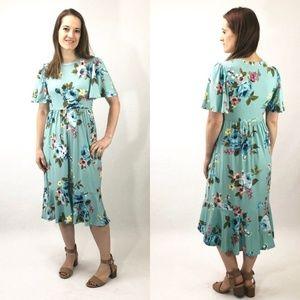 NEW Melanie Floral Dress - Mint